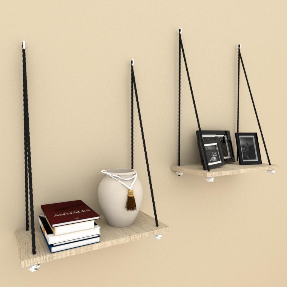 Kit com 2 prateleira com cordas, 20x40 cm mdf Amadeirado claro