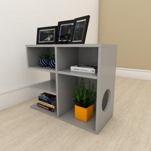 Mesa Lateral para sofá simples em mdf Cinza