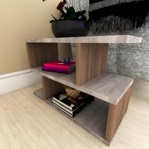 Mini estante para escritório moderna rustico com amadeirado escuro