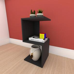 kit com 2 Mesa de cabeceira formato S simples em mdf Preto