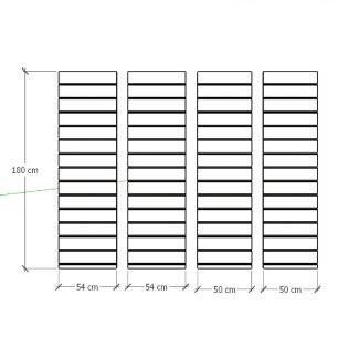 Kit 4 Painel canaletado para pilar amadeirado claro 2 peças 54(L)x180(A)cm + 2 peças 50(L)x180(A)cm