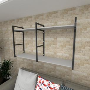 Prateleira industrial para Sala aço cor preto prateleiras 30 cm cor cinza modelo ind13csl