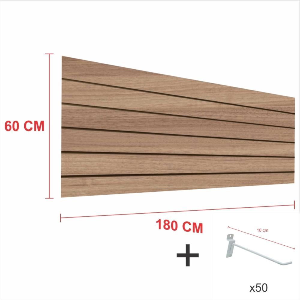Kit Painel canaletado amadeirado alt 60 cm comp 180 cm mais 50 ganchos 10 cm
