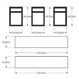 Mini estante industrial para sala aço cor preto prateleiras 30 cm cor branca modelo ind05beps