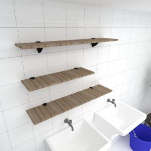 Kit 3 prateleiras lavanderia MDF sup tucano amadeirado escuro 1 60x20cm 2 90x20cm mod pratlvame16