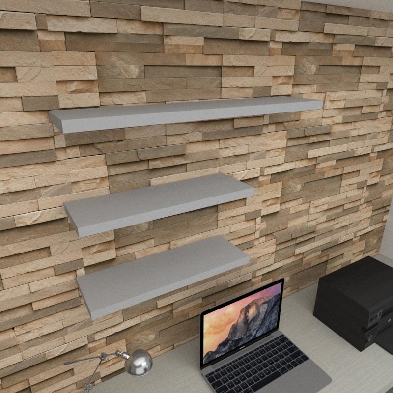 Kit 3 prateleiras escritório em MDF sup. Inivisivel cinza 2 60x20cm 1 90x20cm modelo pratesc36