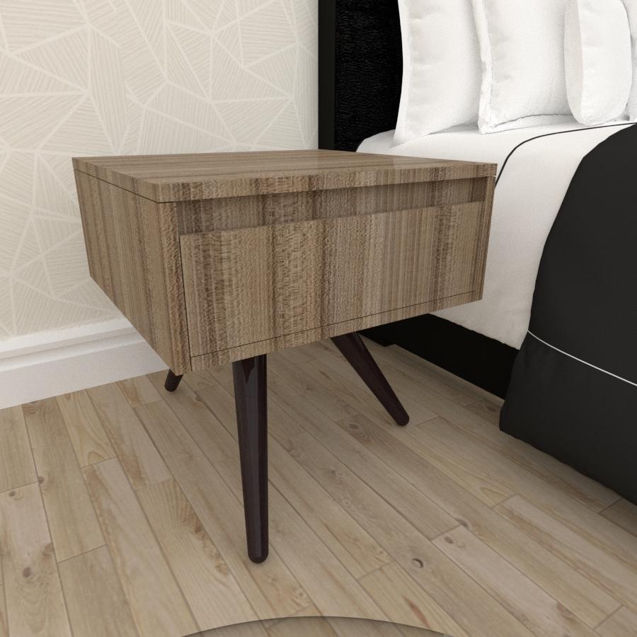 Mesa de Cabeceira com gaveta mdf amadeirado escuro com 3 pés inclinados madeira maciça cor tabaco