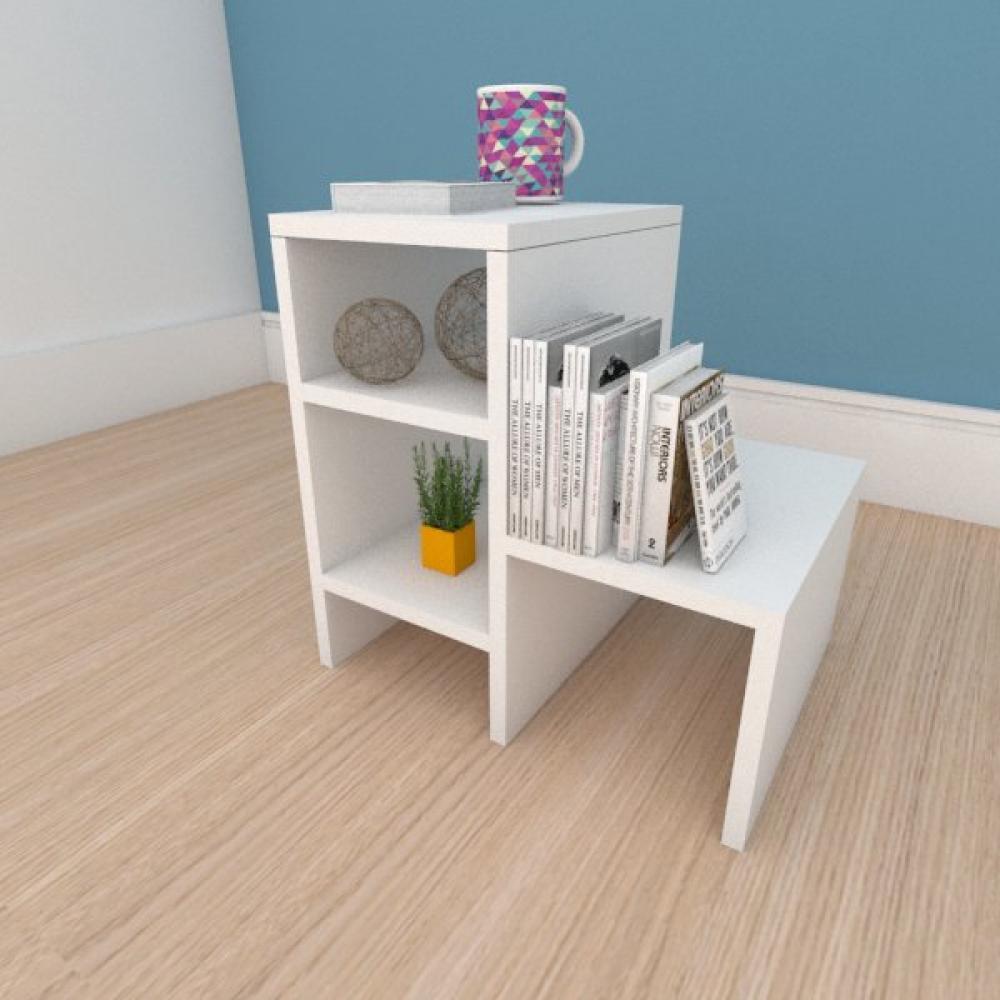Kit com 2 Mesa de cabeceira compacta moderna em mdf branco