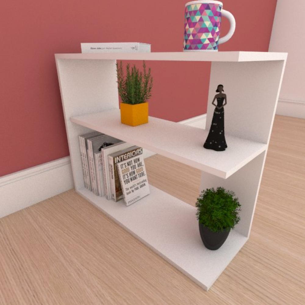 Mesa de cabeceira com prateleira em mdf branco
