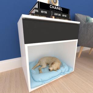 caminha criado cachorro cão gaveta mdf branco preto