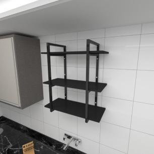 Prateleira industrial para cozinha aço cor preto prateleiras 30cm cor preto modelo ind09pc