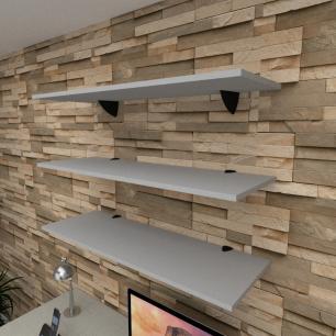 Kit 3 prateleiras para escritório em MDF suporte tucano cinza 90x30cm modelo pratesc03
