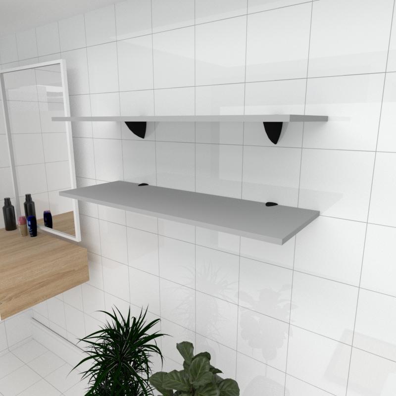 Kit 2 prateleiras para banheiro em MDF suporte tucano cinza 90x30cm modelo pratbnc02