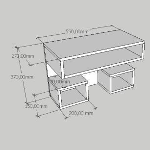 Mesa de cabeceira suspensa com dois nichos em mdf cinza