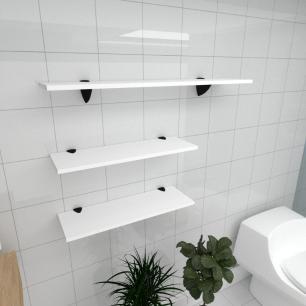 Kit 3 prateleiras banheiro em MDF suporte tucano branco 2 60x20cm 1 90x20cm modelo pratbnb18