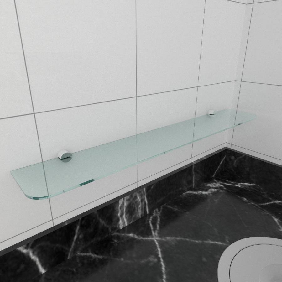 kit com 1 Prateleira de vidro temperado para cozinha 60(C)x8(P)cm