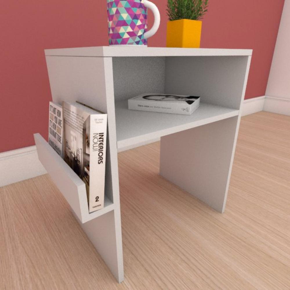 Mesa Lateral com prateleira para livro em mdf cinza