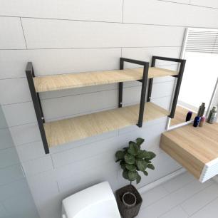 Prateleira industrial banheiro aço cor preto prateleiras 30cm cor amadeirado claro mod ind19acb