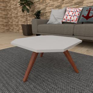 Mesa de Centro octagonal em mdf cinza com 3 pés inclinados em madeira maciça cor mogno