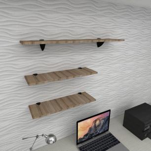 Kit 3 prateleiras escritório MDF sup tucano amadeirado escuro 2 60x20cm 1 90x20cm mod pratesame18