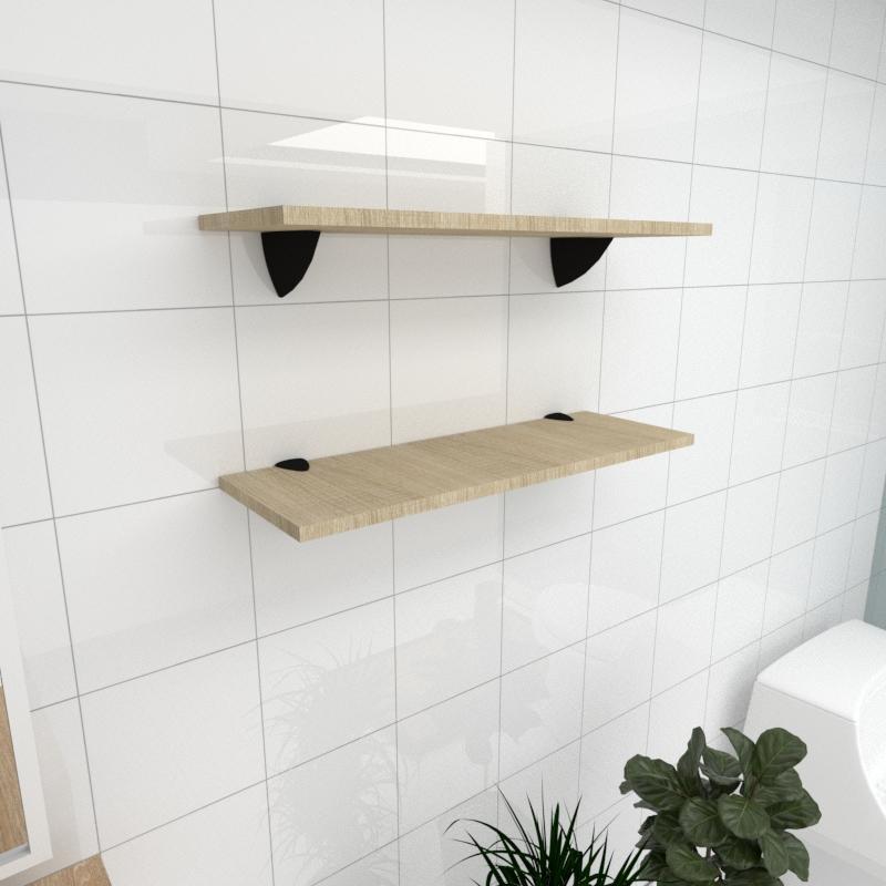 Kit 2 prateleiras para banheiro em MDF suporte tucano amadeirado claro 60x20cm modelo pratbnamc11