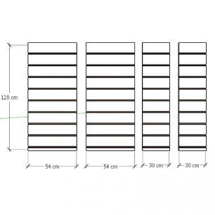Kit 4 Painel canaletado para pilar amadeirado escuro 2 peças 54(L)x120(A)cm + 2 peças 30(L)x120(A)cm