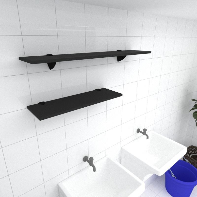 Kit 2 prateleiras lavanderia em MDF suporte tucano preto 1 60x20cm 1 90x20cm modelo pratlvp17