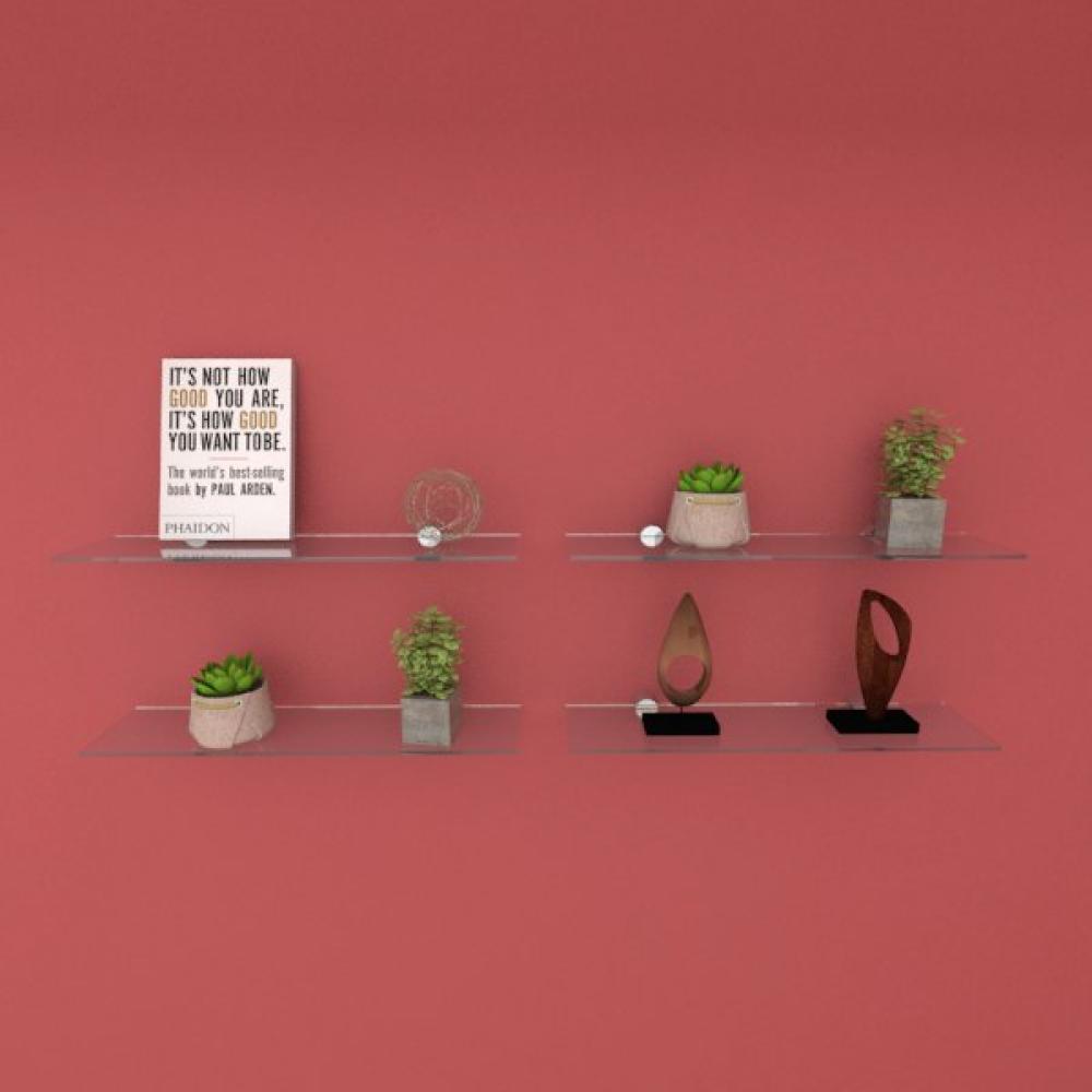 Kit com quatro Prateleira para escritório 40 cm vidro temperado