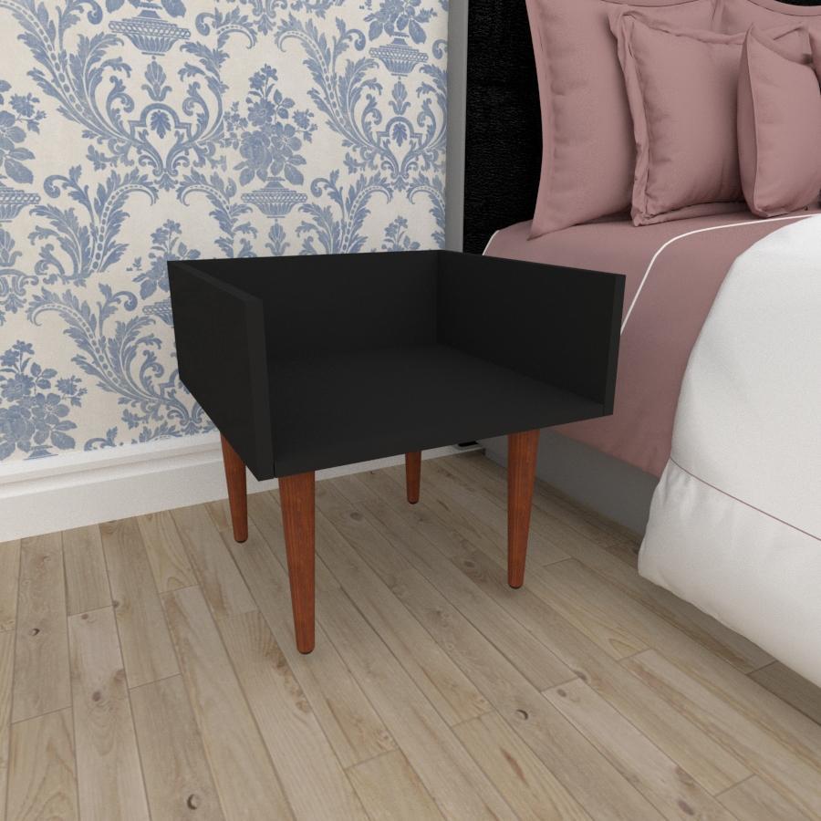 Mesa de Cabeceira minimalista em mdf preto com 4 pés retos em madeira maciça cor mogno