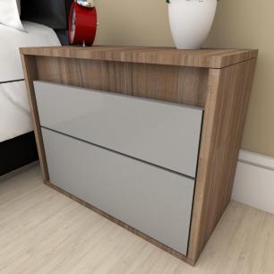 Mesa de cabeceira moderna cinza com amadeirado escuro