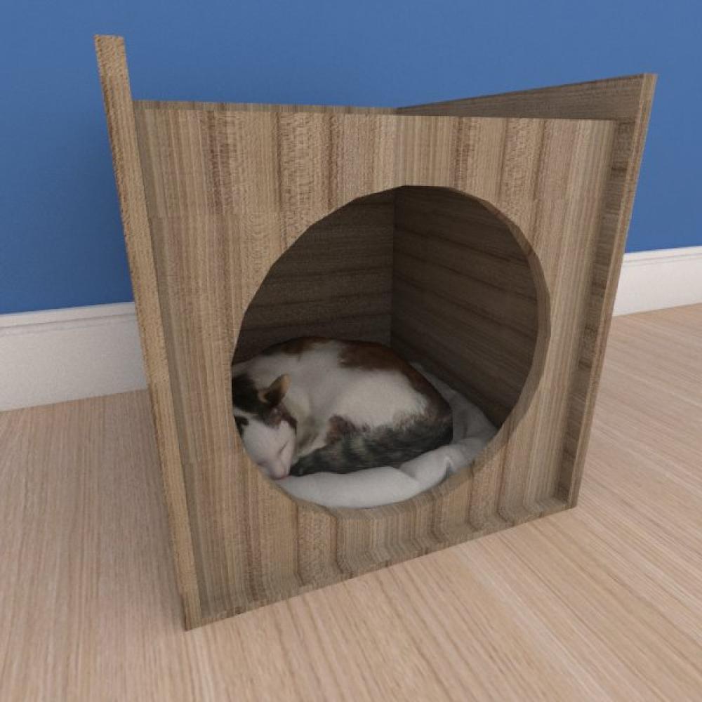 Caminha minimalista pequeno gato em mdf amadeirado
