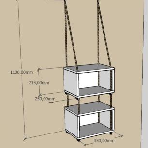 2 nicho prateleiras moderna com cordas, mdf Cinza