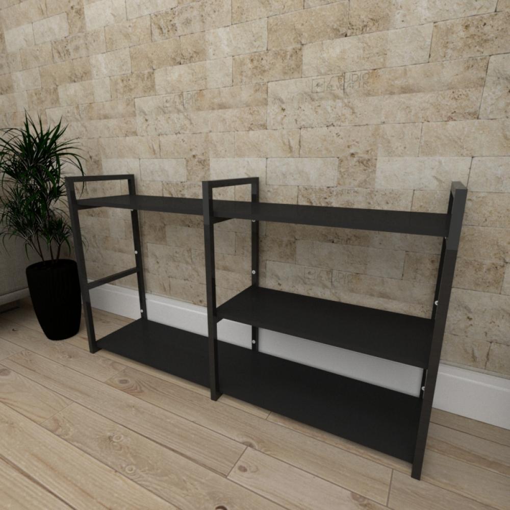 Aparador industrial aço cor preto prateleiras 30 cm cor preto modelo ind14papr