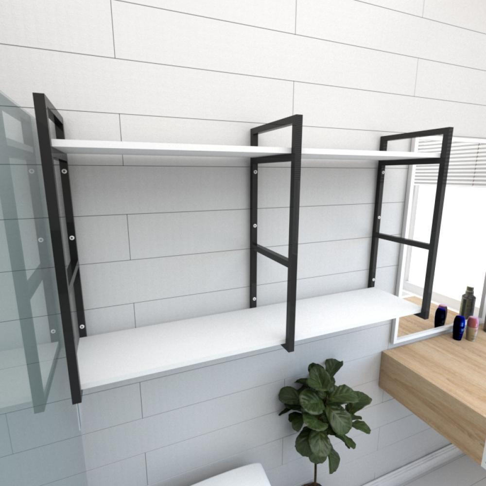 Prateleira industrial para banheiro aço cor preto prateleiras 30 cm cor branca modelo ind13bb