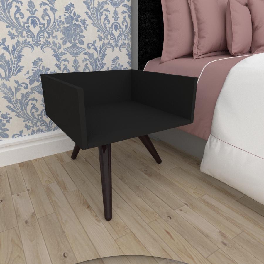 Mesa de Cabeceira minimalista em mdf preto com 3 pés inclinados em madeira maciça cor tabaco