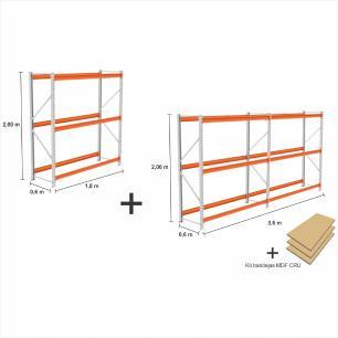 kit com 3 exp Mini Porta Pallet 2 inic + 1 cont 250KG Com 3 niveis 2,00X1,80X0,60 + kit bandeja CRU