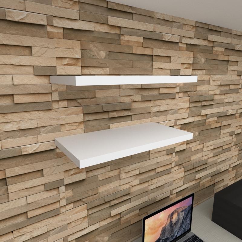 Kit 2 prateleiras para escritório em MDF suporte Inivisivel branco 60x30cm modelo pratesb23