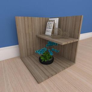 Kit com 2 Mesa de cabeceira moderno minimalista em mdf amadeirado