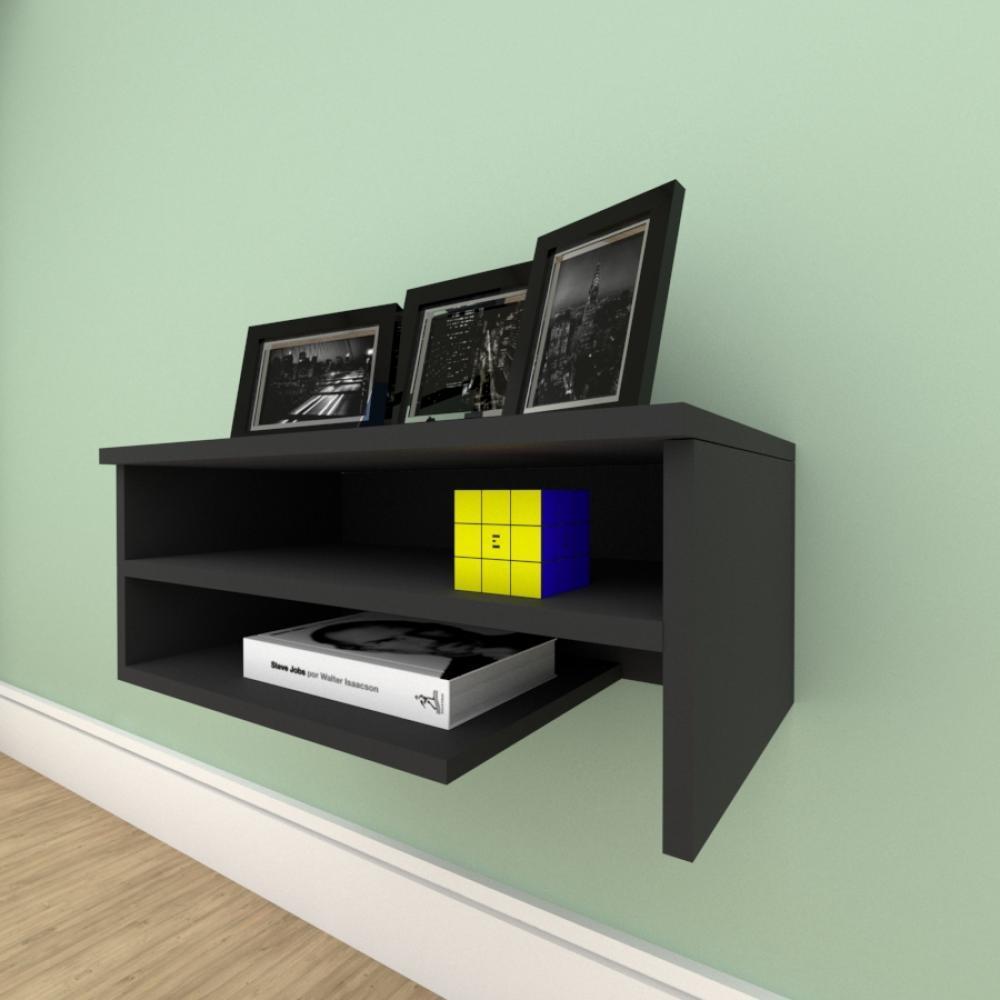 Estante escritório simples com nichos prateleiras em mdf Preto