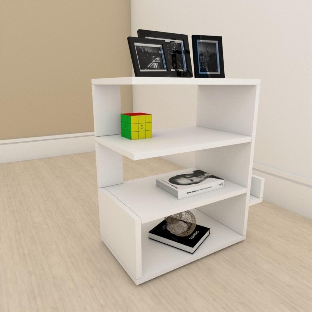 Estante para livros minimalista com nicho em mdf Branco