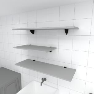 Kit 3 prateleiras lavanderia em MDF suporte tucano cinza 1 60x30cm 2 90x30cm modelo pratlvc13