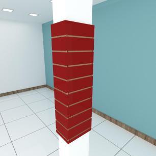Kit 4 Painel canaletado para pilar vermelho escuro 2 peças 24(L)x120(A)cm + 2 peças 30(L)x120(A)cm
