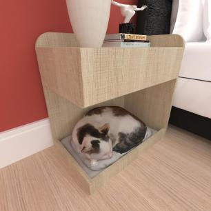 Casinha caminha criado gato gaveta mdf cor Amadeirado claro