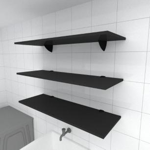 Kit 3 prateleiras para lavanderia em MDF suporte tucano preto 90x30cm modelo pratlvp03