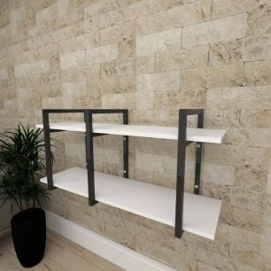 Mini estante industrial para sala aço cor preto prateleiras 30 cm cor branca modelo ind20beps