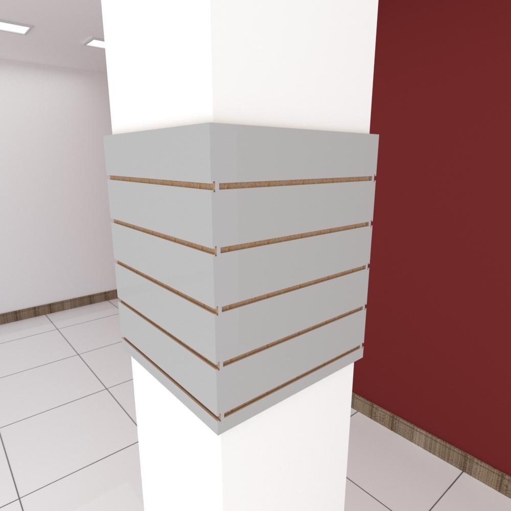 Kit 4 Painel canaletado para pilar cinza cristal 2 peças 54(L)x60(A)cm + 2 peças 50(L)x60(A)cm