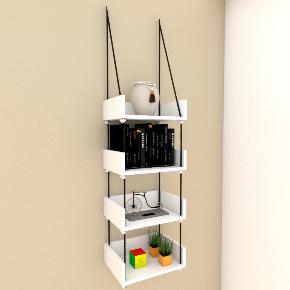 Quatro nicho prateleiras moderna com cordas, mdf Branco