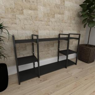 Mini estante industrial para sala aço cor preto prateleiras 30cm cor preto modelo ind17peps