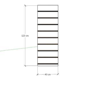 Painel canaletado para pilar preto 1 peça 40(L)x120(A)cm