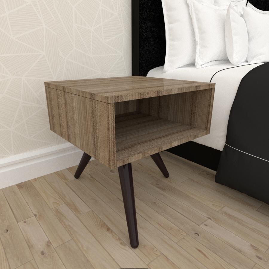 Mesa de Cabeceira em mdf amadeirado escuro com 3 pés inclinados em madeira maciça cor tabaco